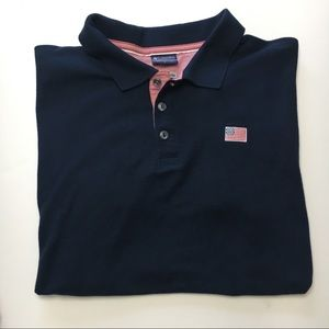 Columbia PFG Regular Polo, American Flag, Navy